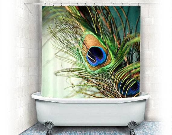 Peacock Feather Fabric Shower Curtain Teal