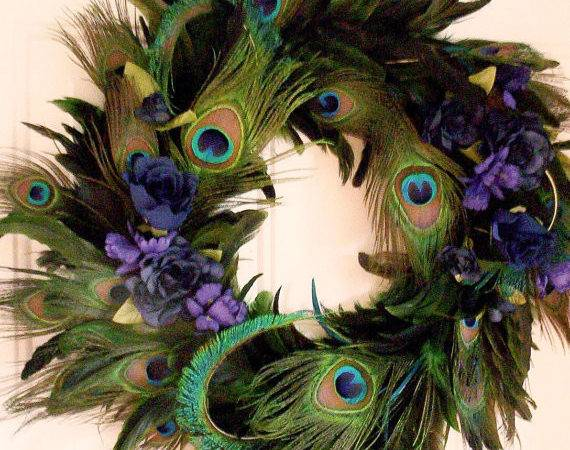Peacock Feather Wreath Home Decor Blue Turquoise Amorevivo