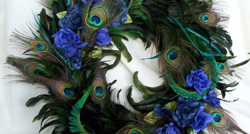 Peacock Feather Wreath Teal Royal Blue Home Decor Amorevivo