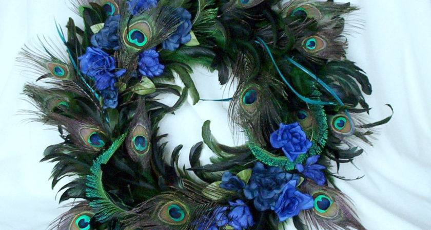 Peacock Home Decor Wreath Natural Feathers Amorevivo