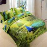 Peacock Pattern Queen Duvet Quilt Cover Set