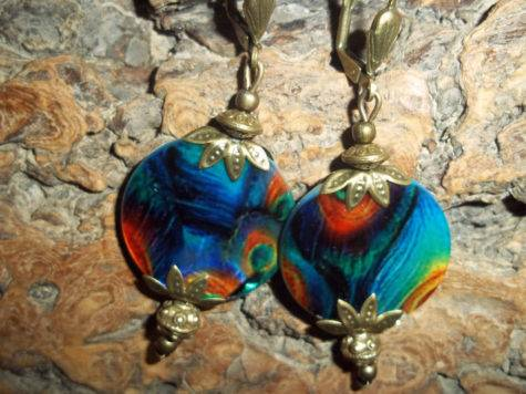 Peacock Shell Earrings Blue Orange Bronze French Ear