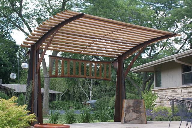 Pergola Contemporary Patio Milwaukee New House Arts