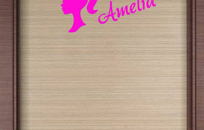 Personalised Name Barbie Wall Art Sticker Decal Girls