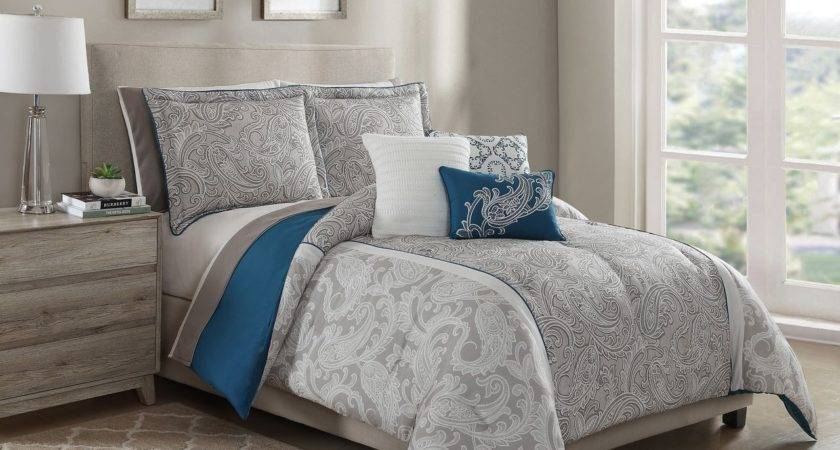 Piece Annalise Taupe Teal Ivory Comforter Set Sheets