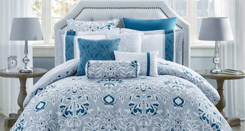 Piece Chloe Teal Gray Ivory Reversible Comforter Set Ebay