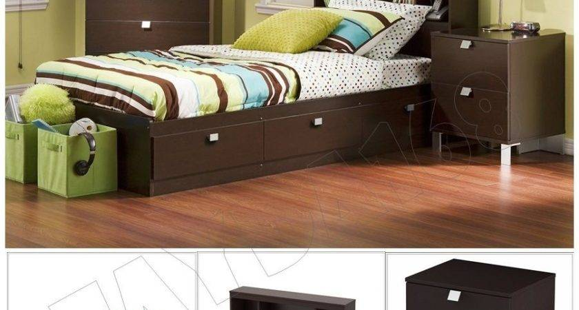 Piece Chocolate Modern Bedroom Furniture Collection Twin