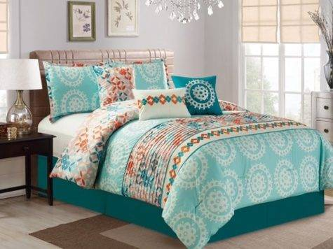 Piece Medallion Teal Coral Comforter Set Walmart