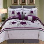 Piece Queen Alyssa Purple Gray Comforter Set
