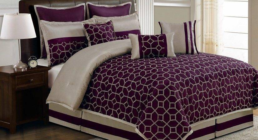 Piece Queen Diamante Plum Taupe Comforter Set