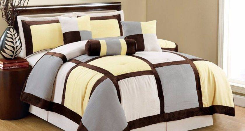 Piece Queen Yellow Brown Gray Micro Suede Patchwork