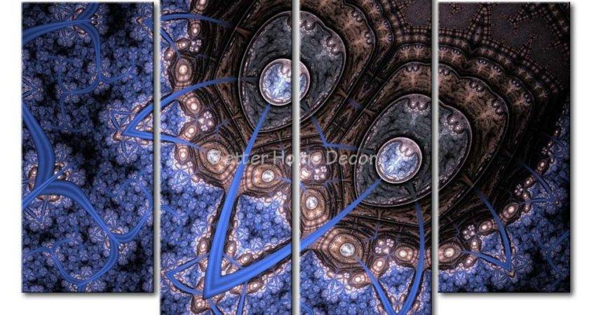Piece Wall Art Painting Blue Brown Fractal Design