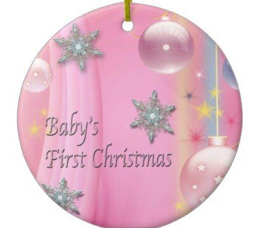 Pink Baby Girl First Christmas Ornament Zazzle