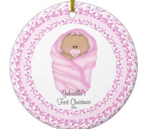 Pink Baby Girls First Christmas Ornament Zazzle