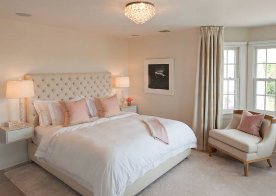 Pink Beige Bedroom Transitional Robyn