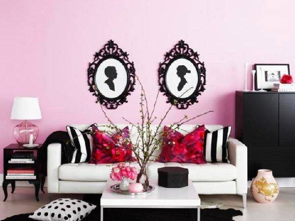 Pink Black Living Room Contemporary