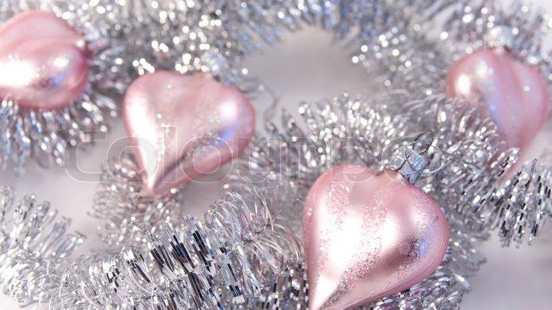 Pink Christmas Decoration Silver Garland