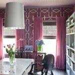Pink Drapes Contemporary Den Library Office Decor Demon