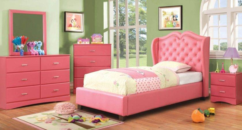 Pink Girls Bedroom Furniture Set Flaunting Twin