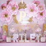 Pink Gold Princess Baby Shower Decorations