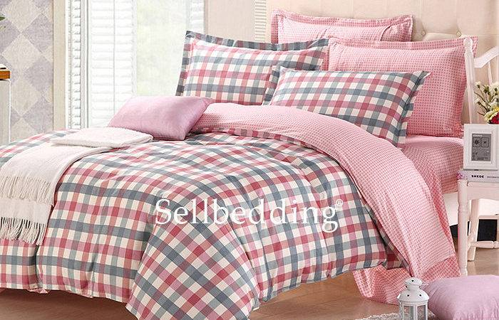 Pink Gray Country Plaid Unique Shabby Chic Cheap Bed