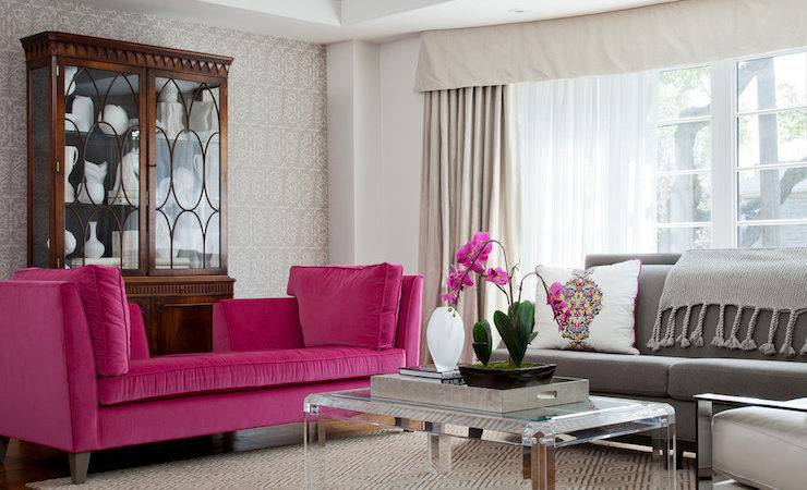 Pink Gray Living Room Transitional