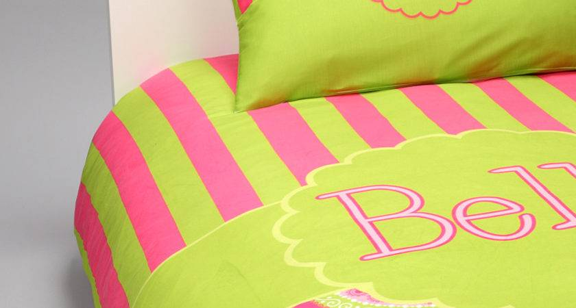 Pink Green Paisley Stripes Bedding Set Personalized