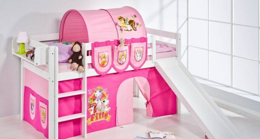 Pink Kids High Bunk Bed Slide Warmojo