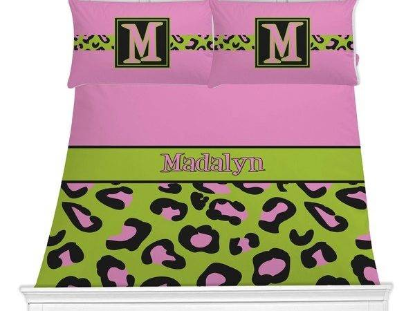 Pink Lime Green Leopard Bedding Set Personalized