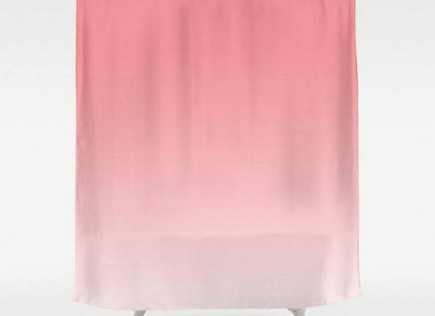 Pink Ombre Shower Curtain Strawberry Ice Pantone Color Light