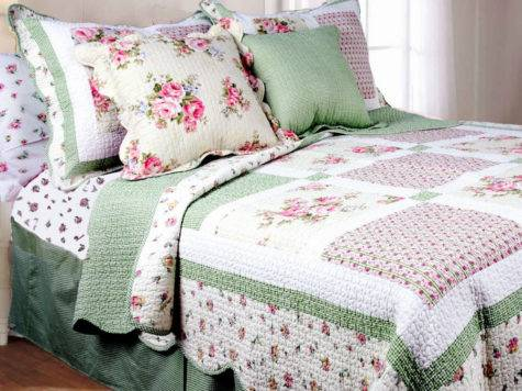 Pink Rose Queen Quilt Set Green Gingham Shabby