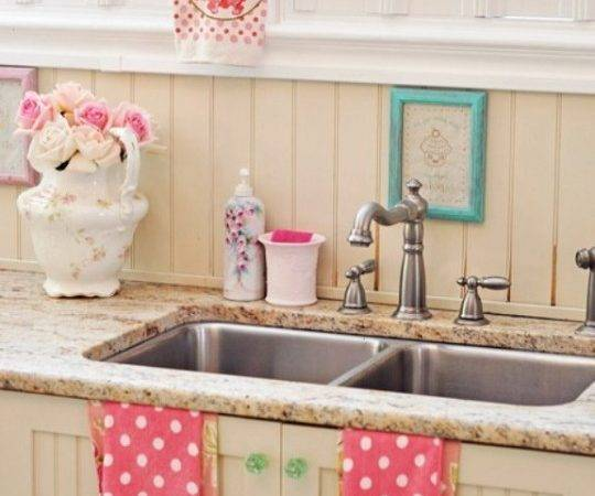 Pink White Cute Country Kitchen Granite Home Rocks