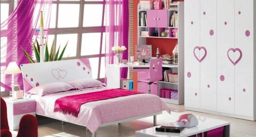 Pink White Girls Bedroom Furniture Heart Love Decor