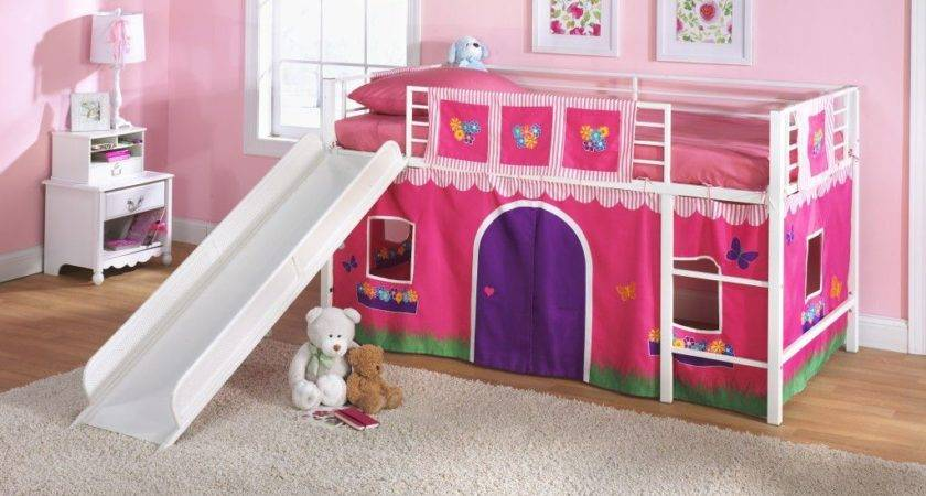 Pink White Loft Bed Toddler Girls Slide Tent