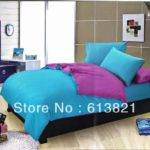 Plain Solid Color Blue Purple Pcs Cotton Sheets