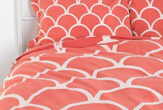 Plum Bow Stamped Scallop Shams Set Two Pink Coral