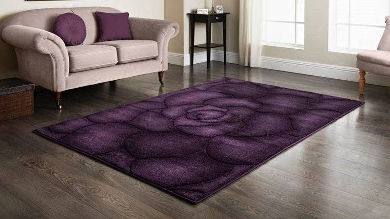 Plum Floral Hand Carved Rug Home Decor Rugs