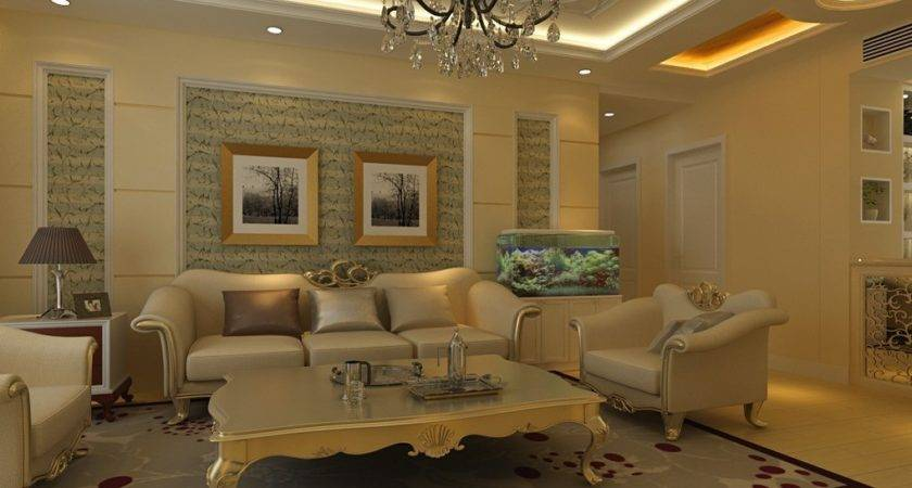 Pop Ceiling Living Room White Design