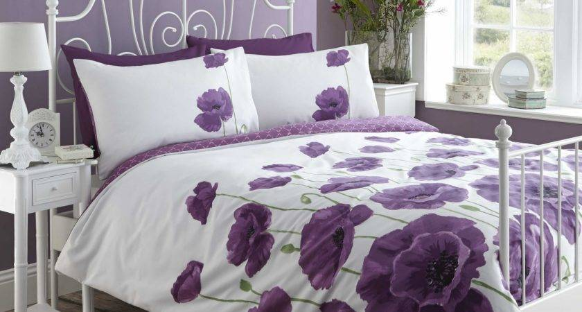Poppy Meadow Quilt Duvet Cover Bedding Bed Set Heather