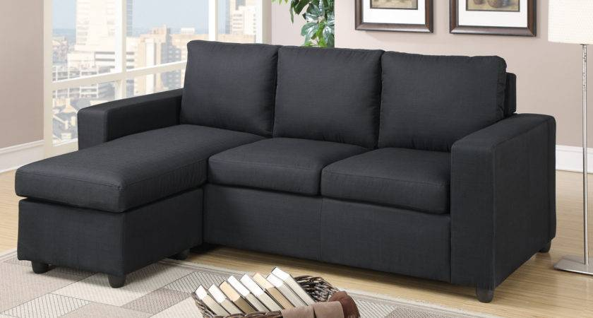 Poundex Akeneo Black Fabric Sectional Sofa Steal