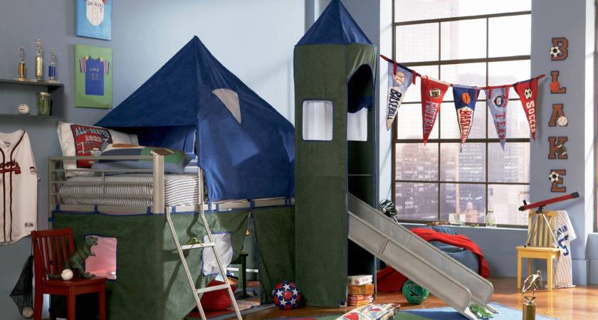 Powell Boys Blue Green Twin Tent Bunk Bed Slide