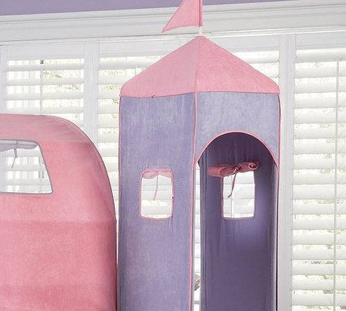 Powell Princess Twin Castle Loft Bed Slide Tent