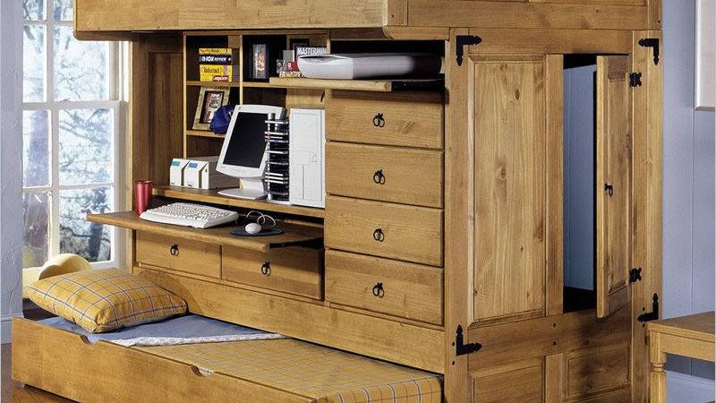 Powell Rustica All One Loft Bed Storage