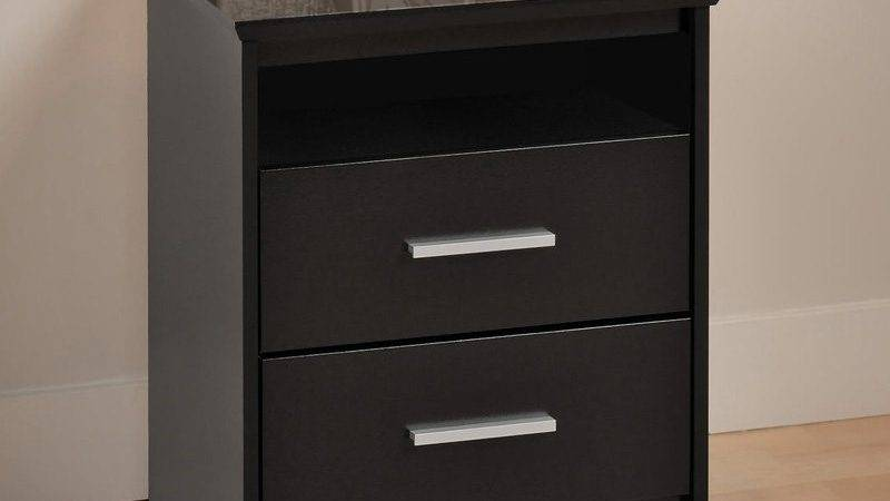 Prepac Coal Harbor Drawer Tall Nightstand Open