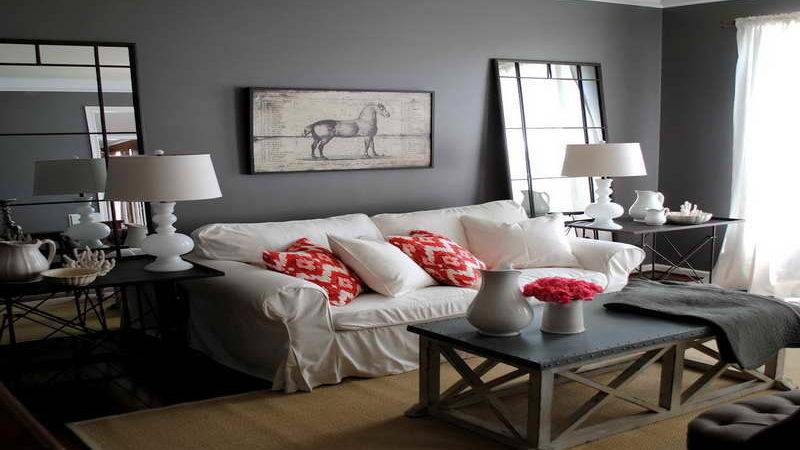 Pretty Decorate Long Wall Living Room