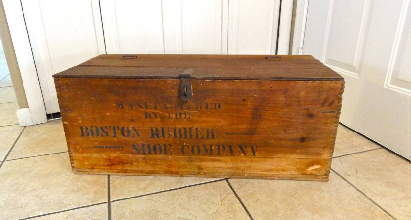 Primitive Large Wooden Crate Boston Rubber Shoe Bluebell
