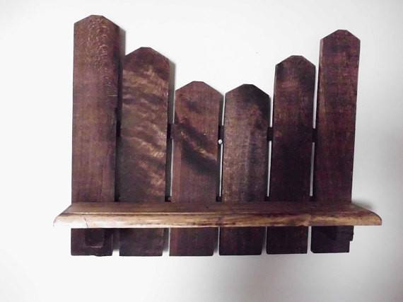 Primitive Picket Shelf Made Reclaimed Wood Crisssexton