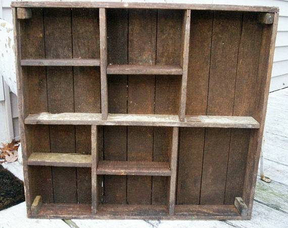 Primitive Shelf Cubbyhole Sections Victorian Wood Folk Art