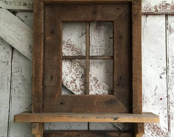 Primitive Window Shelf Made Rustic Wood Hanging Wall