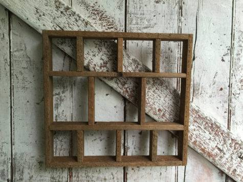 Primitive Wood Shelf Rustic Cubbies Vintage Curio